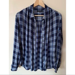 Madewell • M • Button Up Long Sleeve Blue Plaid